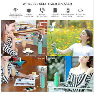 Bt Speaker with Selfie Stick/Power Bank/Phone Shelf for Out Sports Wireless Speakers 10 Hours Playing Time Soundbox