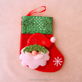 high quality handmade felt christmas stocking with santa claus embroidery pattern funny merry christmas holiday santa - Funny Christmas Stockings