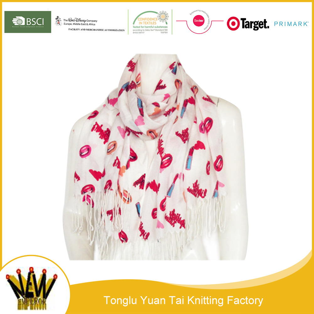 High quality china factory dress women print infinity tassel scarf