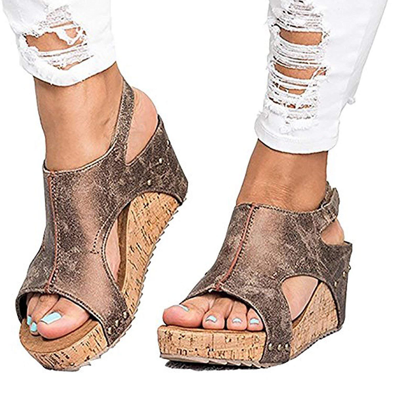 ca77fd0727f57 Get Quotations · Feel Show Women s Casual Sandals Peep Toe PU Belt Buckle  Hook-Loop Wedges Sandals Summer