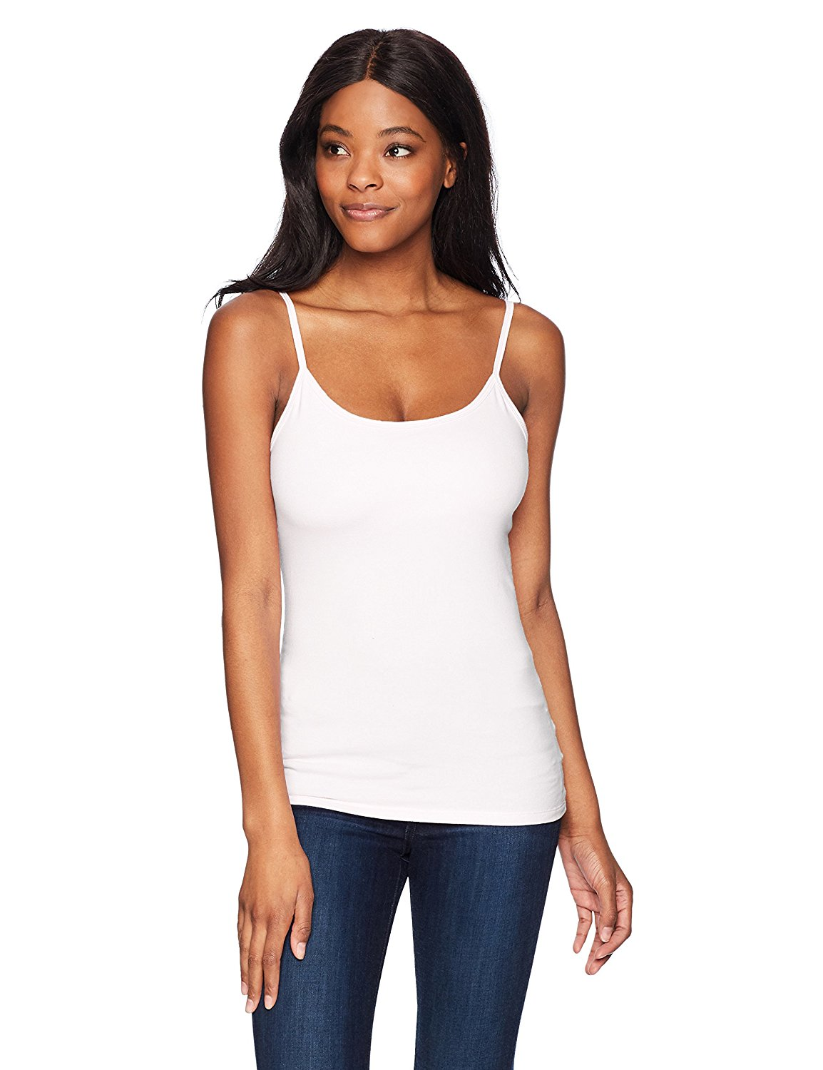 b86d7e9eac917c Get Quotations · Hanes Women s Stretch Cotton Cami with Built-in Shelf Bra