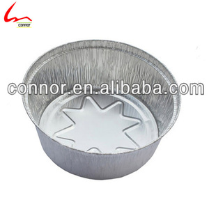 Alloy 8011 aluminum catering circle container for food packaging foil container with embossed bottom
