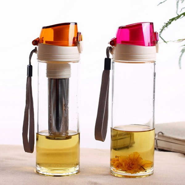 Creative sports glass Double wall tea infuser/ fruit bottle