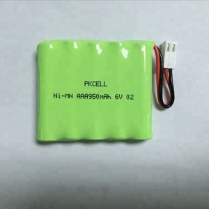 Nimh rechargeable battery pack aaa 950mah 6v battery with cable and connector