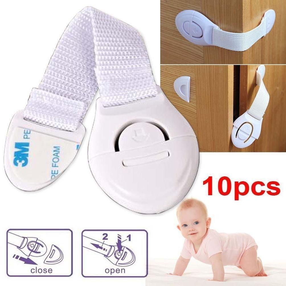 10Pcs Cabinet Door Drawers Refrigerator Safety Plastic Lock For Child Kid