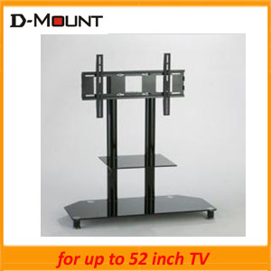 "up to 52""tempered glass aluminum modern lCD TV Mount floor stand 2 layer with tv mount"
