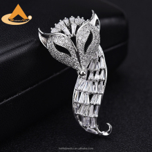 New Zirconia Animal Fox Brooch Pins,High Quality Copper Metal Jewelry Crystal Silver Custom Designer Brooch