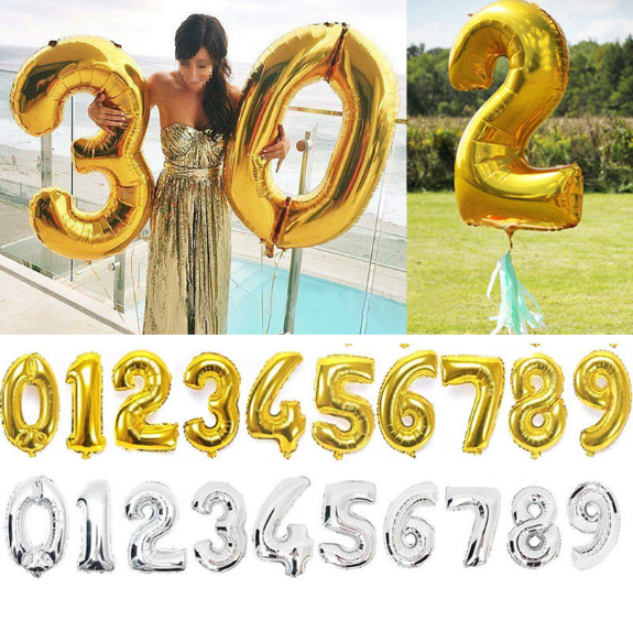 Gold Silver Number Foil Balloons Digit Helium Balloon wedding Birthday balloon inflatable festa casamento Party Supplies