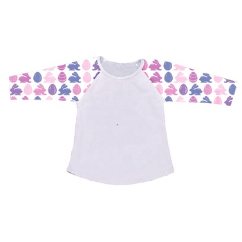 wholesales kids girls baby clothing 3/4 sleeve cotton shirt top ruffle rabbit bunny print Easter outfit