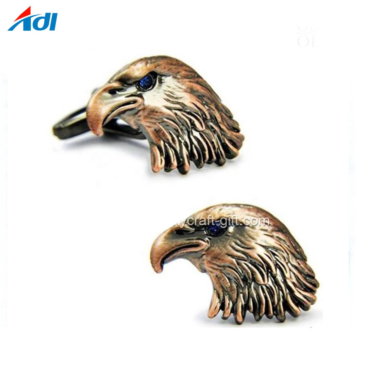 Custom Gold Plating Eagle Head Animal Novelty Metal Shirt Cufflinks