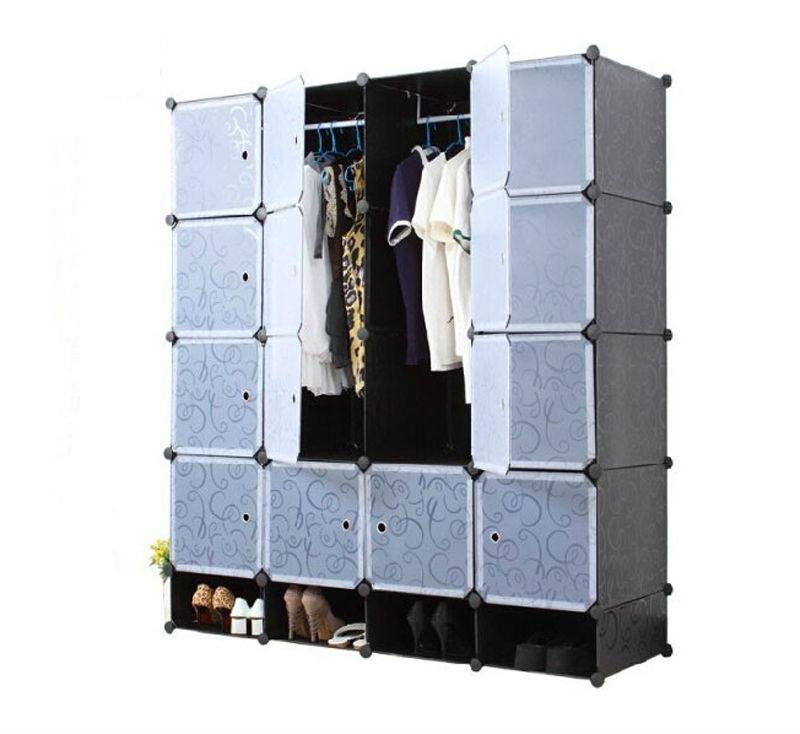 Assemble Plastic Portable Wardrobe Closet, Folding Wardrobe Plastic, Pvc  White Plastic Wardrobe (FH