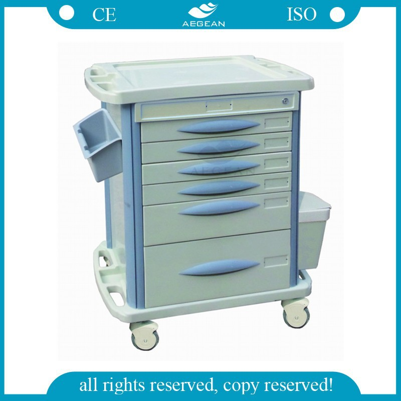 AG-MT003B3 6 Drawers ABS hospital dispensing trolley