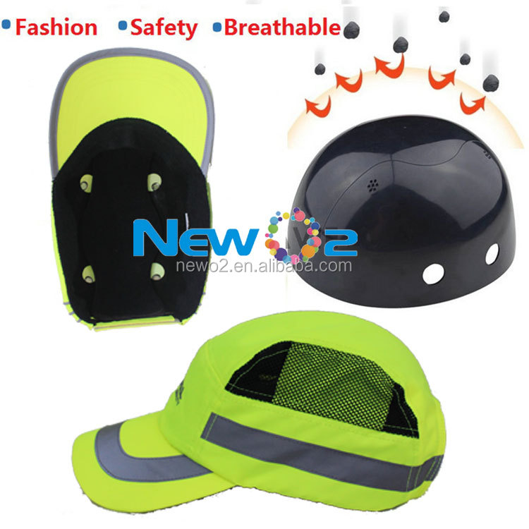 fashion design baseball cap with safety helmet, customized 3d logo sport baseball bump cap