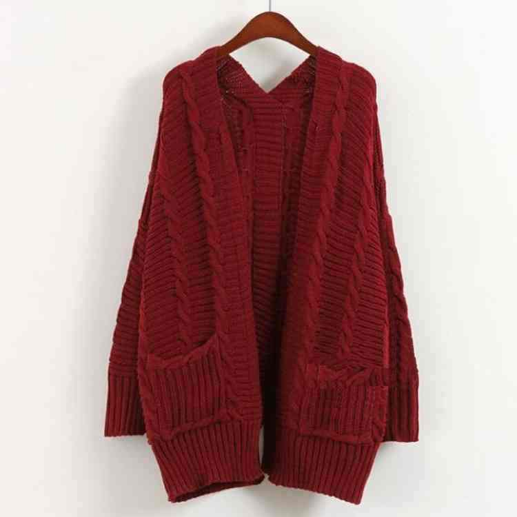 f97158d37a64a Get Quotations · 2015 new Cardigan womens sweater coat long loose twist  Wool Cardigan Sweater with long sleeve big