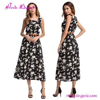 de6b4941e0 Korean Printing One Piece Evening Size Xxl Ladies Western Long Dress ...