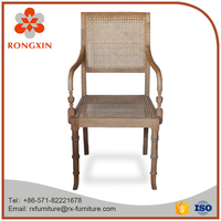 antique rattan natural dining arm chair with rattan pads