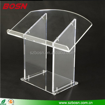 Clear Acrylic Display Podium , Assemble Plexiglass Pulpit