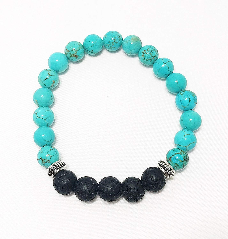Essential Oil Diffuser Bracelet • Aromatherapy Bracelet • Lava Beads • Turquoise Bracelet • Beaded Bracelet • Yoga Jewelry • Wrist Mala • Boho Bracelet • Gemstone Bracelet • Gift For Her