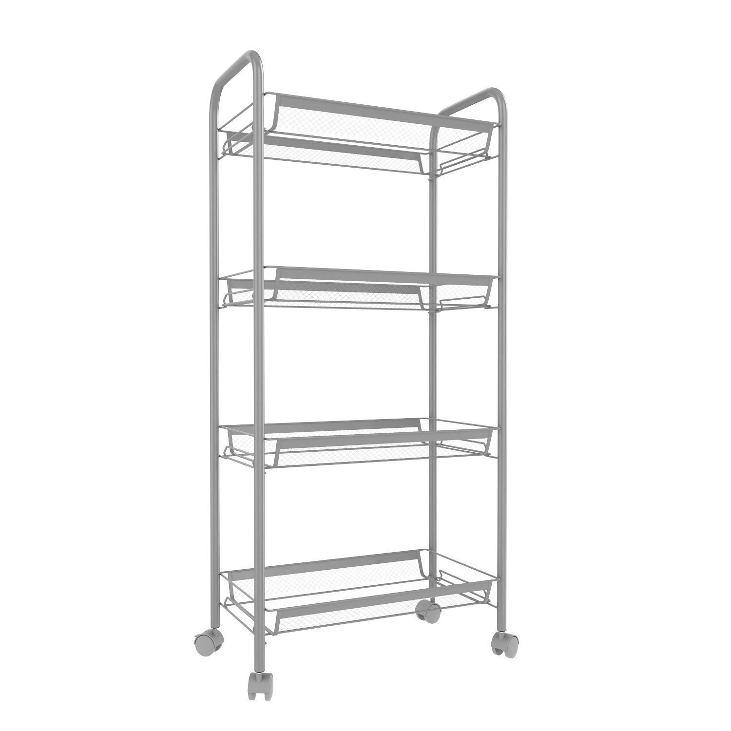 Leoneva Deluxe Heavy Duty Multi-Purpose 3/4/5-Tier Wire Mesh Rolling Cart for Home/Kitchen/Bathroom, Serving Moving Storage Utility Organization Rack with Metal Handle and Wheels (4-Tier, Silver)