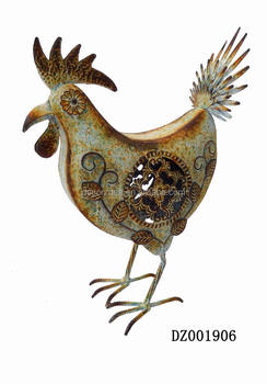 Color Painting Of Garden Metal Roosters For Decorative