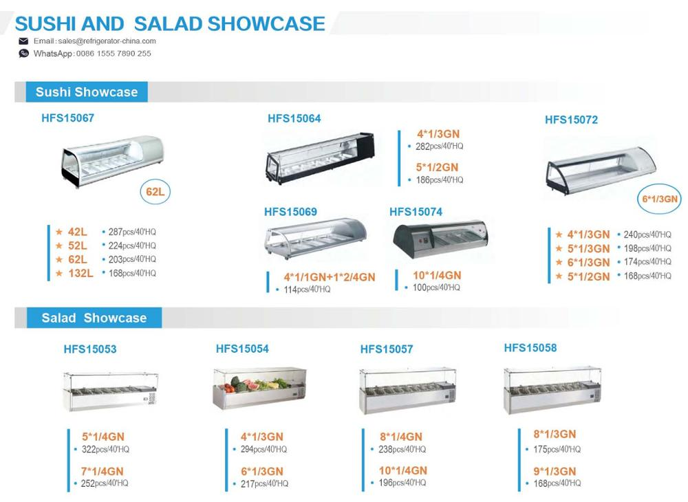 Glass GN Pan Stainless Steel Commercial Refrigerator Showcase Pizza Sandwich Counter Top Salad Bar Display