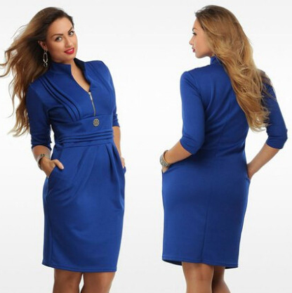f82bbae23798 2015 6Xl Women Blue Plus Size Dress Straight With Zipper Sexy Dress V Neck  Knee High