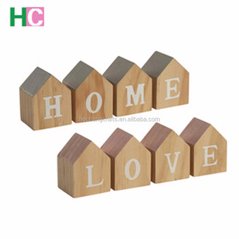 craved house style wooden letter blocks