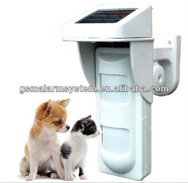 Solar Panel Waterproof Wireless Outdoor Dual PIR Motion detector passive infrared sensor Pet Immunity PIR-100D