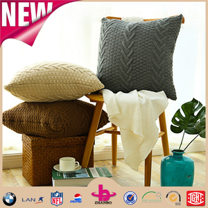 alibaba hot selling office rest thick twisted natural dyed cable knit pillow for neck and back in various solid colors