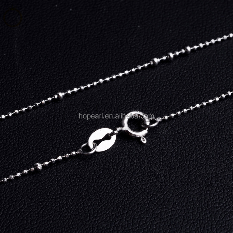 SSN226 Silver 925 Necklace Chain with Faceted Cut Silver Beads 925 Silver Chain