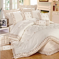KOSMOS Nantong factory wholesale super soft comforter set with lace and embroidery