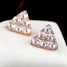 Handmade jewelry crystal pave triangle copper base handmade zircon earring wholesale