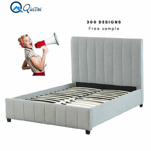 Free Sample Queen White Gray Fabric Bed Frame With Storage