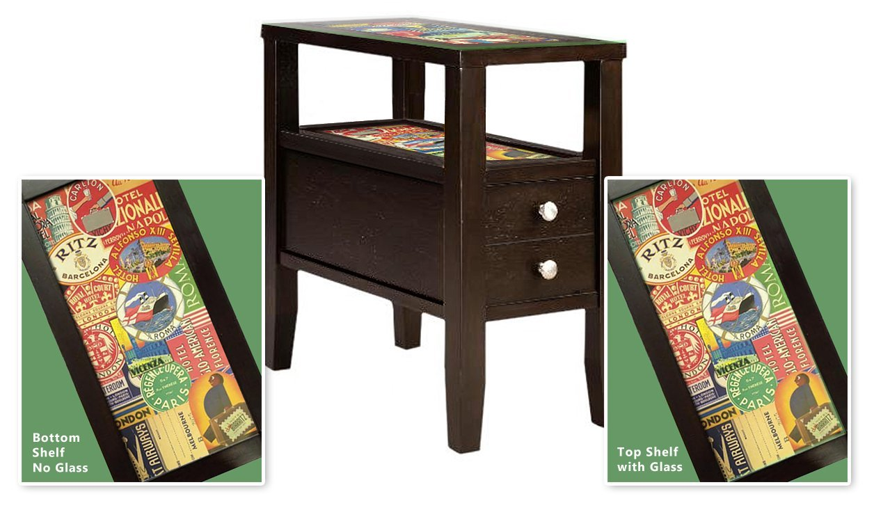Hotel Label Themed Cappuccino / Espresso Finish End Table Night Stand with Glass Table Top