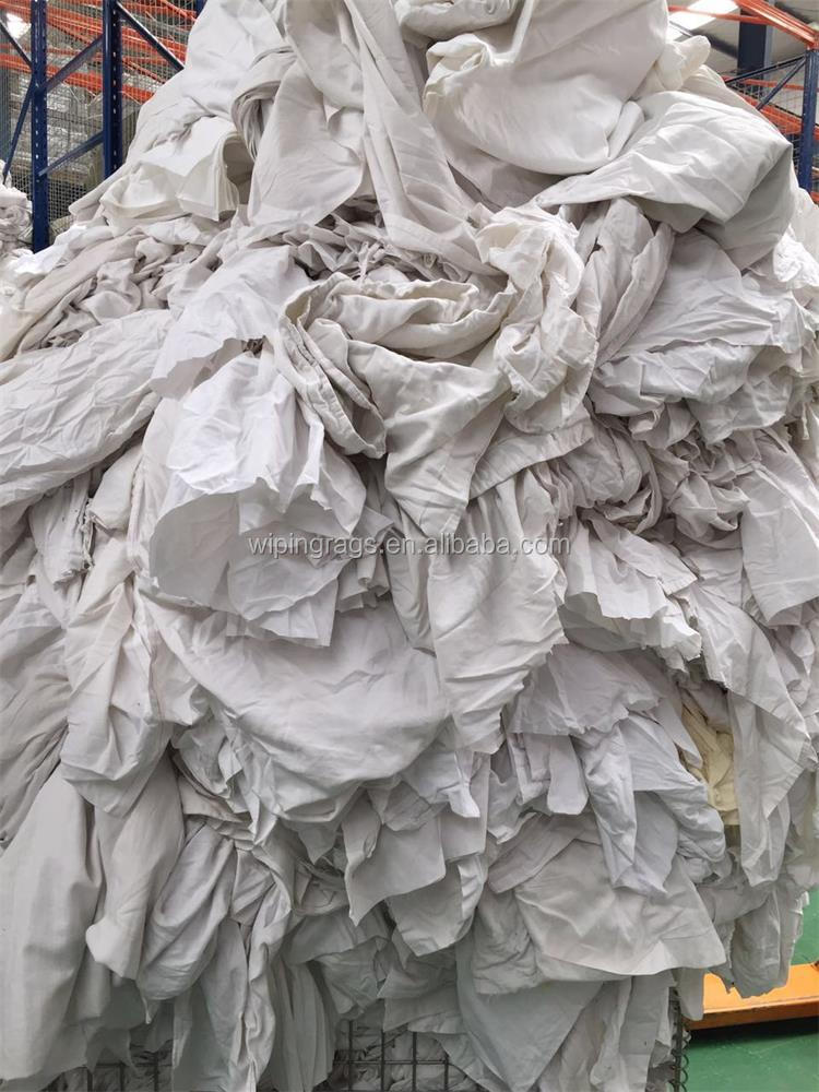 recycled hotel white bed sheet wiping industrial rags for cleaning oil or water