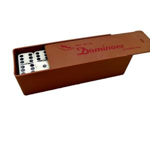 Professional Customer Logo Cheap Child Toys Metal Domino Set With Wooden Box