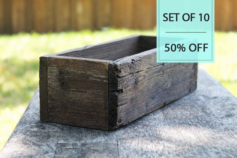 "Bulk Set of (10) 12"" Cedar Rustic Planters Box (3.25-3.75""T - Short Version)"