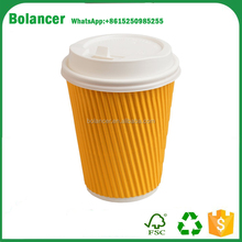 Bolancer Best Disposable Coffee Cups to Go - Premium Hot Paper Cup With Lids 12 Oz, (50 Count), Yellow - Perfect for Ripple and