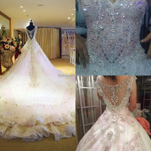 Bling Bling BW001 White V-Neck Crystal Shine Bridal Gown Long Cathedral Train Vestidos De Novia Wholesale Alibaba Wedding Dress
