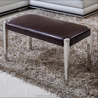 Modern clothing leather sofa stool stool stool benches stainless steel shoes