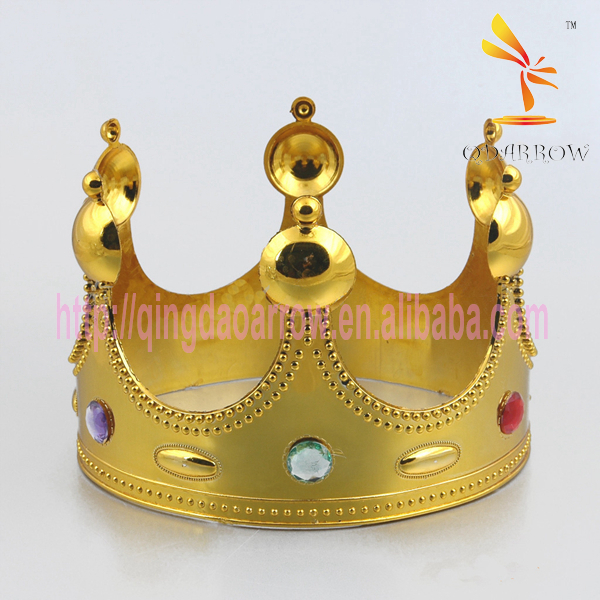 Plastic Crystal Gold Silver King Crown for Boy Party
