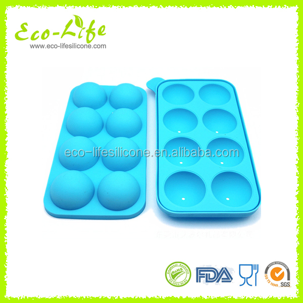 8pcs Silicone Lollipop Cake Mold with Sticks,Silicone Small Ball 3D Chocolate Mold,Ice Cream Tray