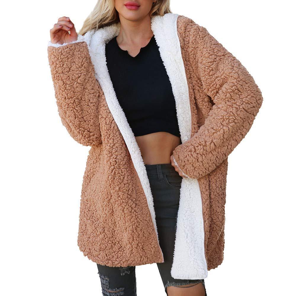 Sikye Coat&Jacket,Women Casual Hooded Coat Ladies Winter Warm Artificial Wool Jacket Parka Cardigan Double Side Wear