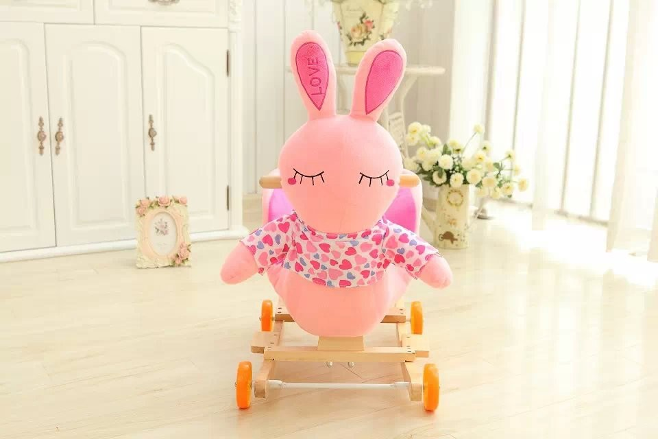 60*35*50cm Adorable ICTI and Sedex audited new design plush rocking pink rabbit animal chair toy with wooden base&music