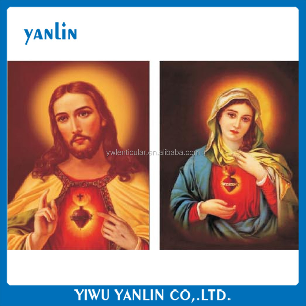 (20pieces/lot,4designs)3d lenticular plastic picture of Jesus and Mary flip 25 designs for choosing