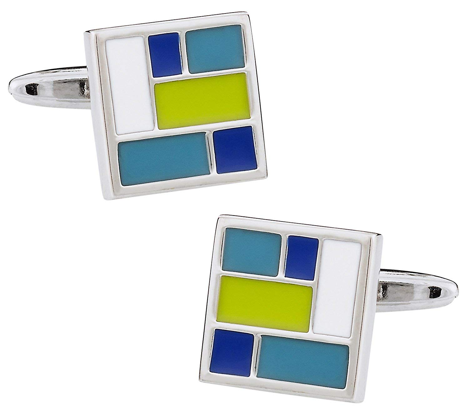 Cuff-Daddy Retro Enamel Green, White, and Blue Square Cufflinks with Presentation Box