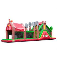 inflatable Big Red Farm Run 17,5m barn inflatable obstacle course/ assault obstacle challenge course for sale