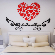 Acrylic Heart shaped wall stickers/PMMA Wall decoration/Crystal dimensional wall sticker