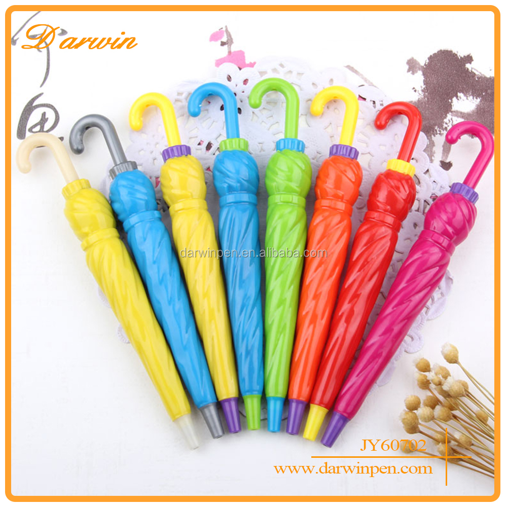 Cute Umbrella Shaped Plastic Ball Novelty Pens For Kids