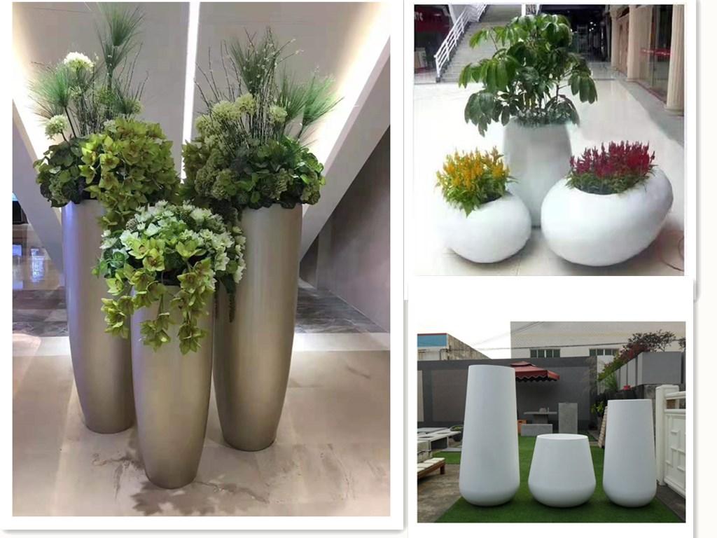 Заводские продажи Высокая прочность прочный стекловолокна смолы открытый большой прямоугольник selfwatering цветочные горшки для дома и сада